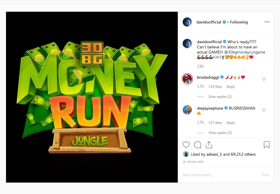 Davido Becomes The First Nigerian Musician To Have His Own Video Game '30BG Money Run'