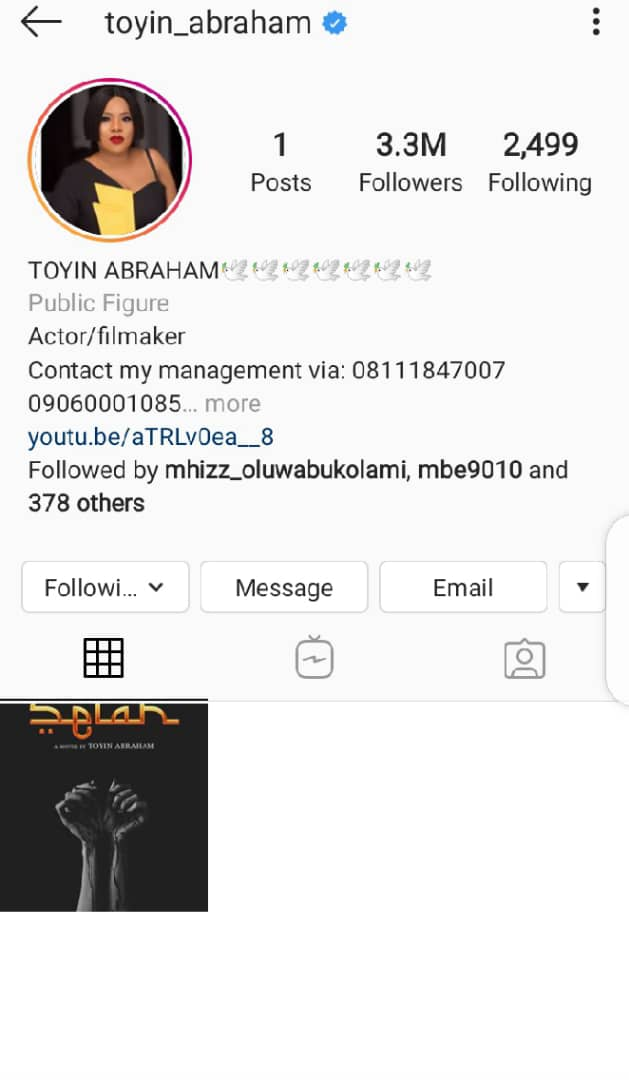 Nollywood Actress, Toyin Abraham Sets A Devastating Moment As She Deletes All Her Post From Instagram